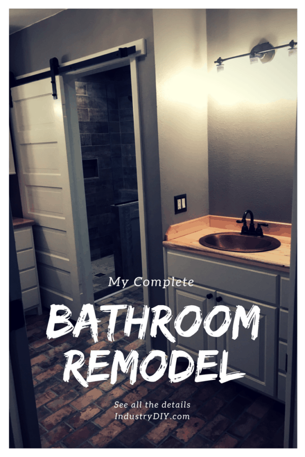 See the steps I went through to completely overhaul this bathroom.  It includes a sliding barn door, wood-look tiled shower, and custom built vanities.