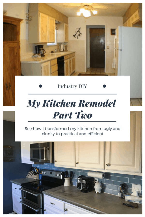 See how I transformed my kitchen from old and dated to new and improved.  I installed concrete countertops, new appliances, and even built my own cabinets.