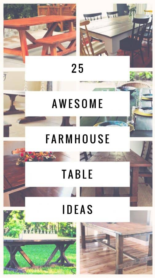 Get a curated list of the best farmhouse table plans. These plans offer classic designs along with several surprising tables. #DIY #Woodworking #Farmhouse
