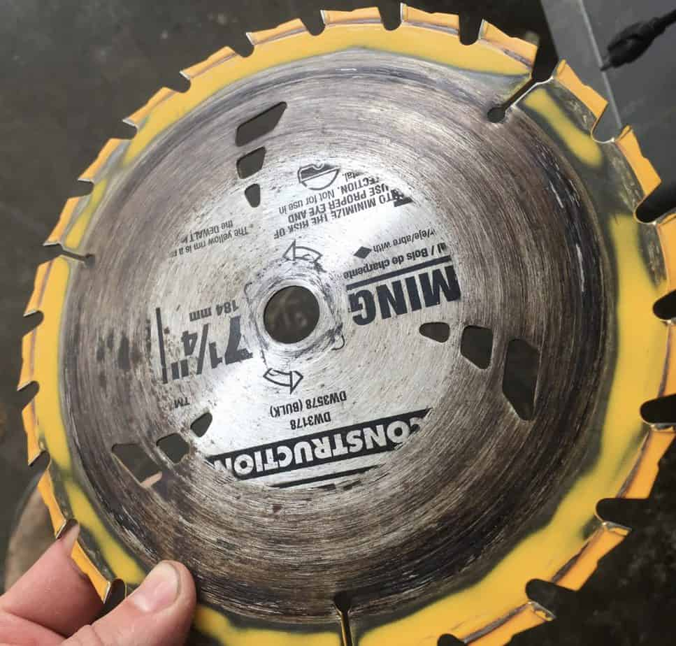Resin on saw blade