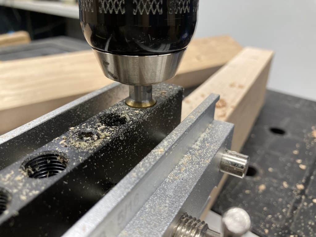 Drilling a dowel hole