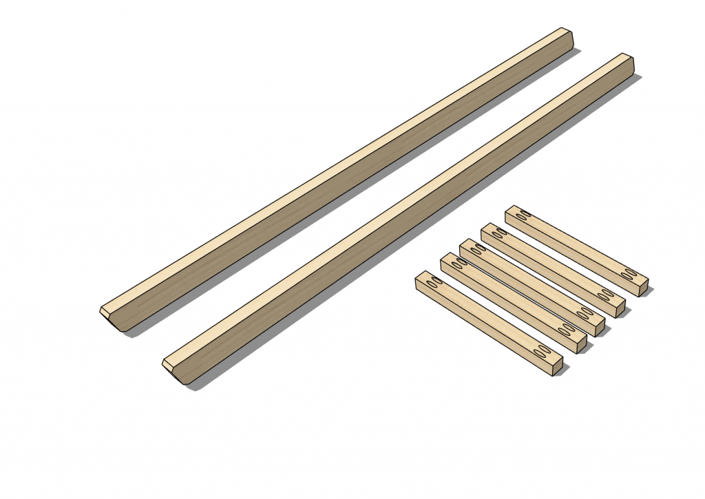 Boards that have been cut with pocket holes drilled in the rungs.