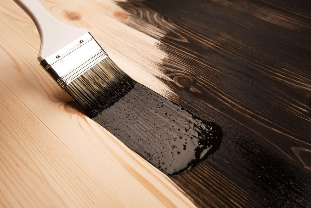 Dark stain on a piece of furniture.