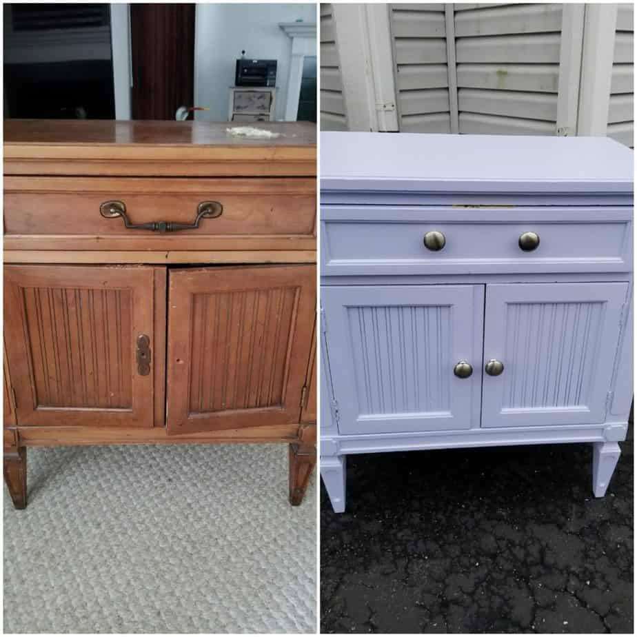 Refinishing a piece of furniture with white paint.